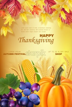 Happy thanksgiving menu Vector realistic. Pumpkin and fruits. Golden leaves background. Autumn fall 3d detailed symbols illustration - starpik