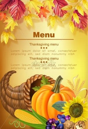 Happy thanksgiving menu Vector realistic. Pumpkin, and sunflower. Autumn fall 3d detailed symbols illustration - starpik