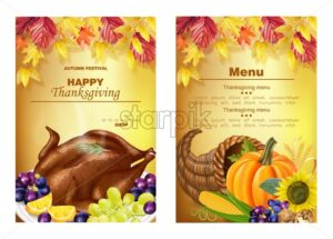 Happy thanksgiving menu coupons Vector realistic. Turkey, pumpkin, and fruits. Autumn fall 3d detailed symbols illustration - starpik