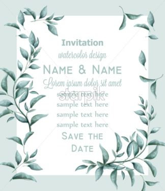 Invitation card with green branches watercolor Vector. Beautiful vintage pastel colors floral decor frame - starpik