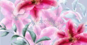 Lily flowers watercolor banner Vector. Beautiful vintage pink colors floral decor - starpik
