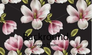 Magnolia background Vector watercolor. flowers decor dark color theme - starpik