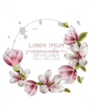 Magnolia beautiful wreath card Vector watercolor. Round beauty decor illustration - starpik