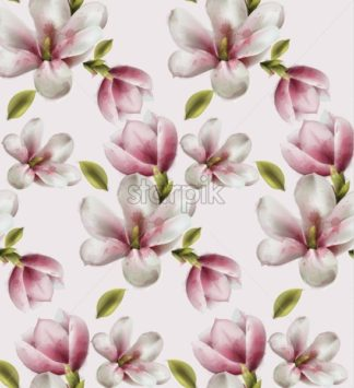 Magnolia pattern Vector watercolor. flowers decor on white background - starpik