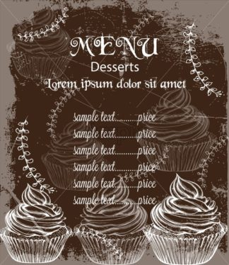 Menu card template drinks and cakes Vector. Fresh coffee, cupcakes, design line art - starpik