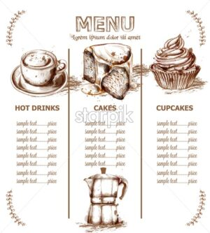 Menu template drinks, cakes and seafood Vector. Fresh coffee, cupcakes, lobesters design line art - starpik