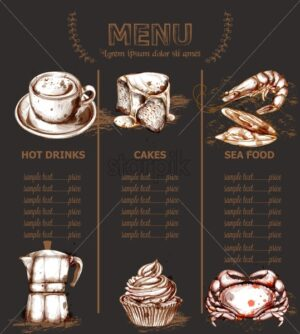 Menu template drinks, cakes and seafood Vector. Fresh coffee, cupcakes, lobesters design line arts dark - starpik