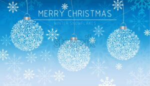 Merry Christmas banner snowflakes decorations card in winter frost Vector. Magic Blue beautiful holiday cards. Snowing blurry background - starpik