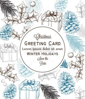 Merry Christmas card Vector lineart. Christmas background decorated invitation - starpik
