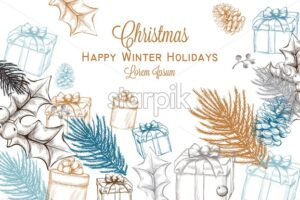 Merry Christmas card Vector lineart. Christmas background decorated invitation card - starpik