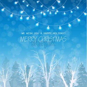 Merry Christmas card on winter forrest landscape background Vector. Blue lights on top beautiful holiday card - starpik