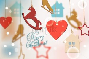 Merry Christmas card with colorful funny decorations Vector watercolor illustration - starpik