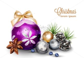 Merry Christmas card with cute decorations Vector watercolor illustration - starpik