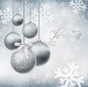 Merry Christmas card with silver baubles Vector realistic. Christmas shiny glitter decorations. Holidays winter poster. Detailed 3d illustration decor - starpik