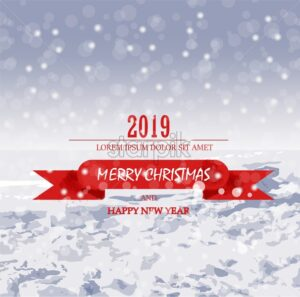 Merry Christmas card with snow Vector. Holiday postcard. Red text detail - starpik