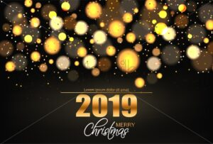 Merry Christmas shiny golden lights Vector background. Holiday card illustration - starpik