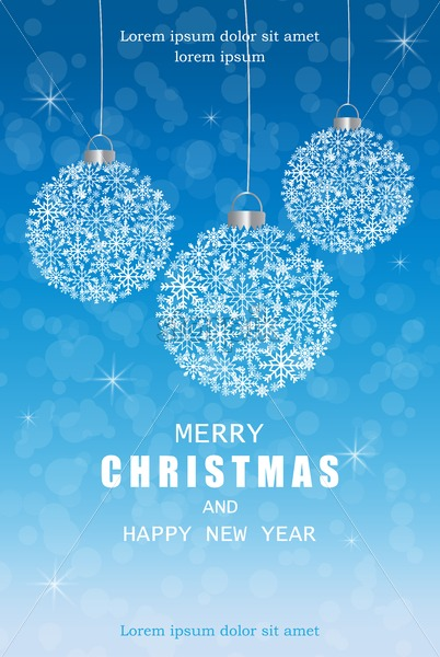 Merry Christmas snowflakes decorations card in winter frost Vector. Blue beautiful holiday cards. Snowing blurry background - starpik