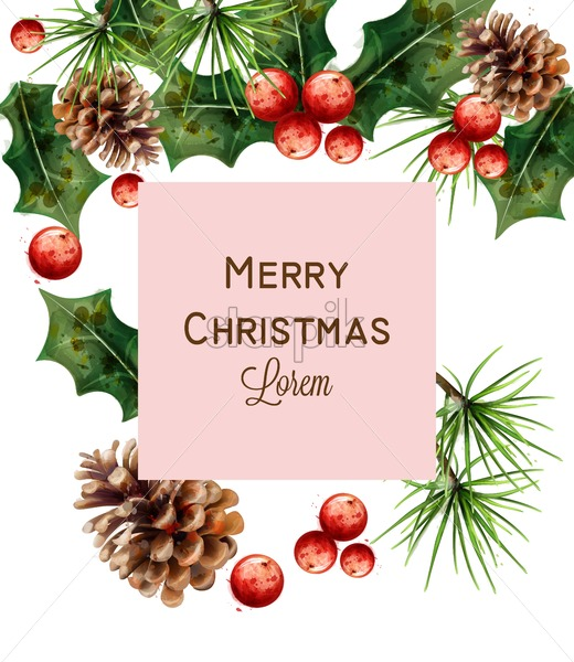 Christmas Colors.Merry Christmas Watercolor Card Vector Red Christmas Decoration Fir Branches And Viburnum Red Colors Effects