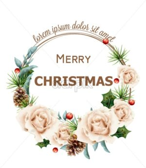 Merry Christmas wreath with watercolor roses Vector. Pink Christmas decoration fir branches details illustration - starpik