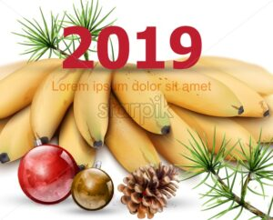 New Year 2019 card with bananas Vector. Watercolor exotic fruits and winter decors illustration - starpik