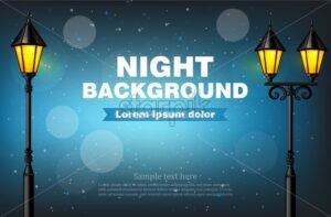 Night background lamps Vector realistic. 3d illustration bokeh effect - starpik