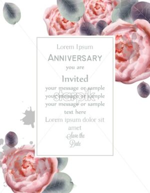 Peony flowers card Vector watercolor. Floral decor. Anniversary background - starpik