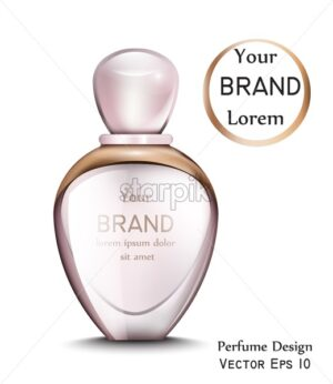 Perfume bottle Vector realistic with golden frame. Product placement. gift perfume. Pink color - starpik