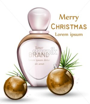 Perfume bottle Vector realistic with golden watercolor baubles. Merry Christmas gift perfume. Pink color - starpik
