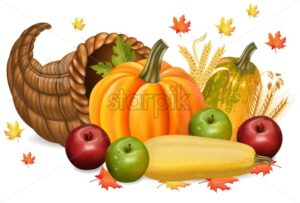 Pumpkins and apples Autumn fall harvest 3d detailed symbols illustration - starpik