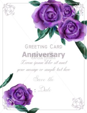 Purple roses flowers watercolor Vector. Vintage greeting. Delicate floral frame decor bouquet - starpik