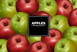Realistic Apples background Vector. Red and green fruits banner - starpik