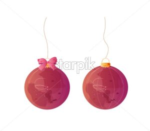 Red Christmas balls watercolor decorations Vector illustrations isolated on white - starpik