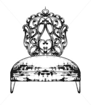 Rich baroque chair Vector. Royal style furniture decotations. Victorian ornaments engraved. Imperial engraved ornaments illustration line art stylish design - starpik