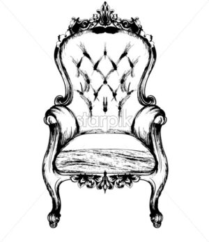 Rich classic armchair. Royal style decotations. Victorian ornaments engraved. Imperial furniture decor. Vector illustrations line art baroque stylish design - starpik