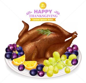 Roasted turkey and fruits on white plate Vector. Fresh hot meal. Thanksgiving card realistic 3d illustration - starpik