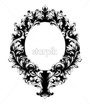 Rococo ornamented mirror frame Vector. Victorian border monogram floral ornament leaf scroll engraved retro flower decorative design. filigree calligraphic heraldic - starpik