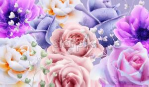 Rose flowers background watercolor Vector. Beautiful vintage pastel colors floral decor banner - starpik