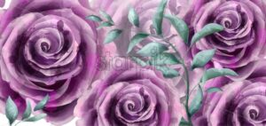 Rose flowers watercolor banner poster Vector. Beautiful vintage purple colors floral decor - starpik