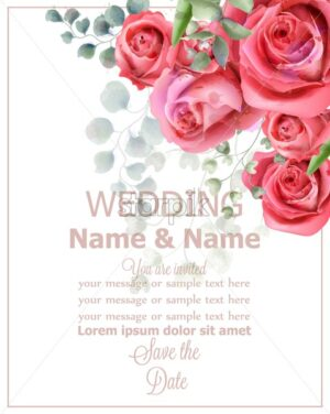 Rose flowers wedding card watercolor Vector. Beautiful vintage pastel colors floral decor - starpik