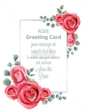 Rose flowers wedding card watercolor Vector. Beautiful vintage pastel colors floral decor banner - starpik