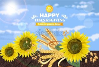 Sale poster with Sunflowers decor Vector realistic. 3d template Holiday offers sales - starpik