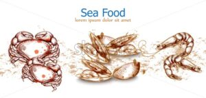 Seafood isolated template crab, mussels, seafood Vector. Fresh banner design line art - starpik