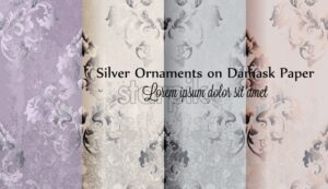 Silver ornament damask paper pattern Vector. Vintage glossy decor texture - starpik