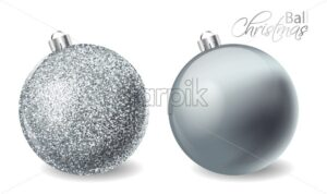 Silver shiny glitter Christmas balls Vector realistic. Merry Christmas elements isolated. Detailed 3d illustration decor - starpik