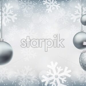 Silver shiny glitter baubles on snowflakes background Vector realistic. Christmas silver decorations card. Holidays winter poster. Detailed 3d illustration decor - starpik