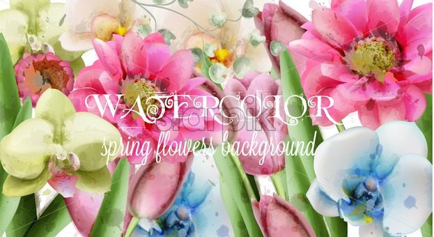 Spring Flowers Background Watercolor Vector Beautiful Vintage