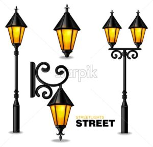 Street lamps 3d Vector realisic set collection isolated on white background - starpik
