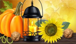 Sunflower, pumpkin and candle light card Vector realistic. Autumn fall or Thanksgiving illustration background - starpik