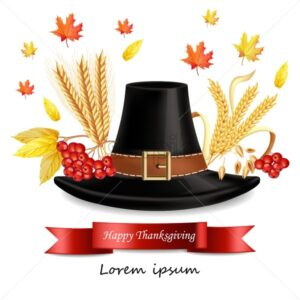 Thanksgiving card with traditional hat Vector realistic. 3d detailed illustration - starpik