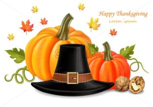 Thanksgiving card with traditional hat Vector realistic. 3d detailed illustrations. pumpkin decor - starpik
